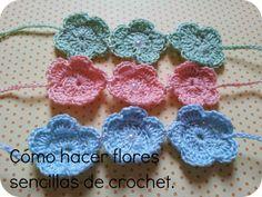 Pomelo: Tutorial: cómo hacer flores sencillas de crochet.