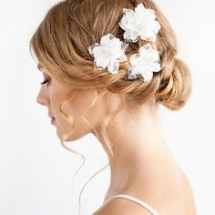 Bohemian Wedding Hair Piece - Silk Flower Hair Piece with Lace - Bridal Hair Piece Ivory on Etsy, $57.00