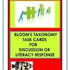 This unique product 74 page product has been designed to help you save time. It addresses cognitive skills through the utilization of Bloom's Taxonomy.  Included are 91 prompt cards for discussion or written literacy response.  Easy to use with any reading.  All levels of Blooms are covered.  Teach Every Child at their level with this unique product.