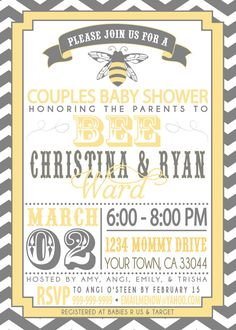 COUPLES baby SHOWER invitation Parents to BEE by SLDESIGNTEAM, $18.00