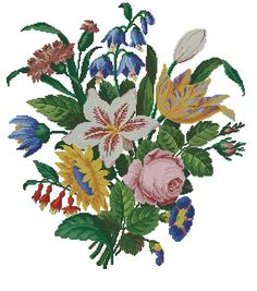 Butch of flowers vintage digital pattern for cross stitch or