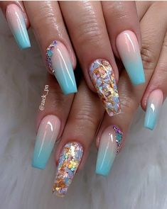 Chic Ombre Coffin Nails Designs In Summer - Nail Art Connect Summer Acrylic Nails, Best Acrylic Nails, Spring Nails, Fall Nails, Summer Nails, Summer Stiletto Nails, Beautiful Nail Designs, Cute Nail Designs, Acrylic Nail Designs