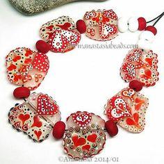 "Anastasia Lampwork Beads 7 ""Valentine"" SRA | eBay http://www.ebay.com/itm/261373724738?ssPageName=STRK:MESELX:IT&_trksid=p3984.m1555.l2649"