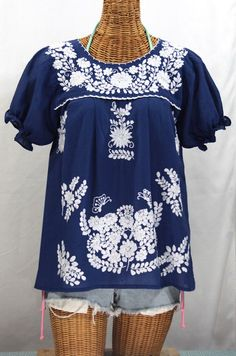 "Our ""La Mariposa Corta"" Embroidered Mexican Style Peasant Top in Royal Blue.  Check out all of our peasant blouses at SirenSirenSiren.com  #gypsy"