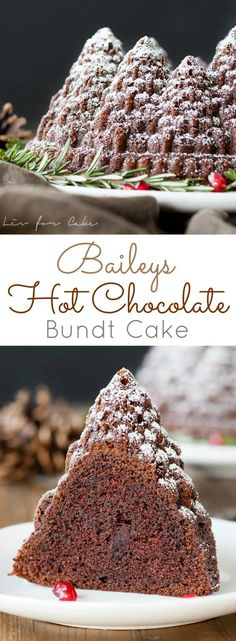 Bailys Hot Chocolate Bundt Cake - This rich chocolate cake is kicked up a notch with the delicious flavour of Baileys Irish Cream. Mini Desserts, Christmas Desserts, Just Desserts, Delicious Desserts, Christmas Bunt Cake, Christmas Recipes, Irish Desserts, Cupcakes, Cupcake Cakes