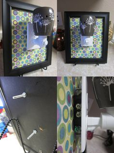 DIY Scentsy plug-in display.  Take the glass out of a frame, cover the backing with scrapbook paper, rip off the stand on the back of the frame, screw in an outlet and outlet cover, put it in a frame holder, and you're done!