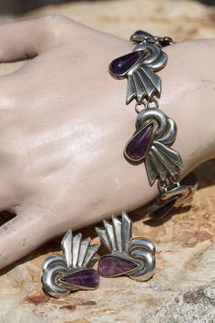 Vintage Mexican Taxco 925 Sterling Silver Grape Amethyst Bracelet Earring Set | eBay