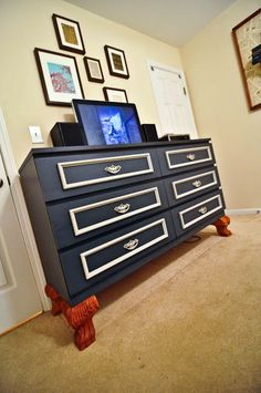 Materials: Malm 6 Drawer Dresser, chair rail molding, drawer handles, claw feet,  Description: I started with a black/brown Malm 6 drawer dresser.  Knowin