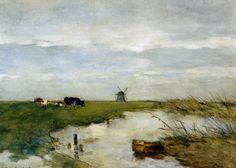 Farm near Noorden by Johan Hendrik Weissenbruch. Painter Artist, Artist Painting, Watercolor Landscape, Landscape Art, Watercolour, Farm Paintings, Classic Paintings, Dutch Painters, Dutch Artists