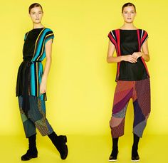Issey Miyake 2014 Pre Fall Womens Lookbook Presentation - Pre Autumn Collection Looks - Oversized Outerwear Trench Coat Topcoat Overcoat Bright Colors Leggings Tights Abstract Prints Tire Tracks Mix Match Multi Panel Stripes Cropped Gauchos Culottes Balloon Sleeves Square Rectangular Neck V-Neck Sweater Jumper Dress
