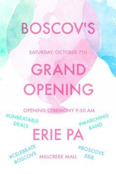 I can hardly wait for @BoscovsErie #GrandOpening in #EriePA. Prizes, entertainment & unbeatable sales. The fun starts Saturday 10/7 9:30 AM. #CelebrateBoscovs #BoscovsErie #sponsored via @rewardmyshoppin