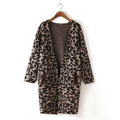 To find out about the Khaki Long Sleeve Leopard Knit Cardigan at SHEIN, part of our latest Sweaters ready to shop online today! Long Knit Cardigan, Shrug Cardigan, Winter Kimono, Long Sweaters For Women, Knitted Coat, Wool Coat, Leopard Print Cardigan, Brown Sweater, Ponchos