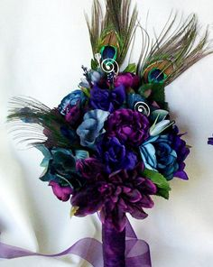 Wedding accessories Peacock Bridal Bouquets Plum, Purple,Teal, Oasis Silk Wedding Flowers custom colors feather bokay package for Lesley