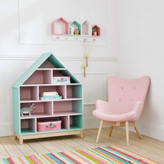 Bibliothèque maison enfant en bois rose L 75 cm