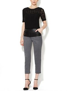 Leather Panel Stretch Pant  | Tracy Reese