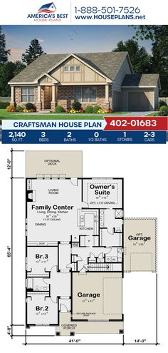 Plan 402-01683 features a Craftsman home with 2,140 sq. ft., 3 bedrooms, 2 bathrooms, split bedrooms, two masters, an open floor plan, and a 2-3 car garage. #craftsman #onestoryhome #architecture #houseplans #housedesign #homedesign #homedesigns #architecturalplans #newconstruction #floorplans #dreamhome #dreamhouseplans #abhouseplans #besthouseplans #newhome #newhouse #homesweethome #buildingahome #buildahome #residentialplans #residentialhome