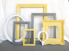 Yellow Grey White Ornate Picture Frames with GLASS by BeautiSHE, $96.00