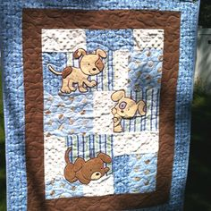 binding ideas for baby quilts   Baby Puppy Quilt, hand sewn binding and machine quilting! !Hooray ...