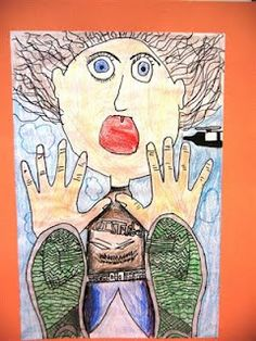 """Livingston Art Room.  Love this lesson on foreshortening.  When I do it, I call it """"Falling into Fifth Grade."""""""