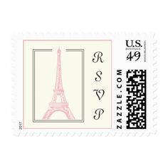 Paris wedding Eiffel Tower pink RSVP stamp. Postage