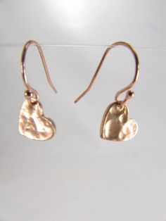 Rose Gold Heart Earrings by UESAtelier, $22.00