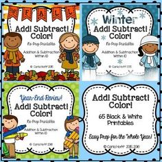 Money-saving bundle!  Easy prep printables for addition and subtraction within 10 -- perfect for the whole year!