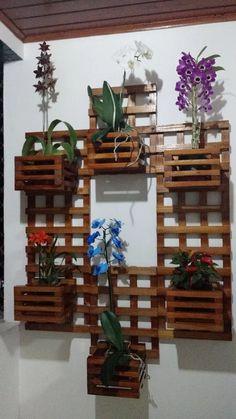 floreira vertical c/ cachepos em madeira tratada