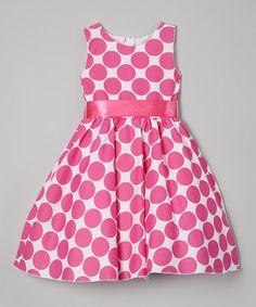Loving this Fuchsia Polka Dot A-Line Dress - Infant, Toddler & Girls on #zulily! #zulilyfinds