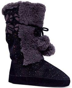 Muk Luks Women's Jewel Pom Pom Sweater Boots