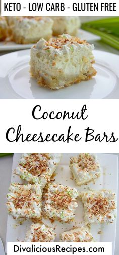 Low Carb Coconut Cheesecake Bars - Low Carb Coconut Cheesecake Bars This coconut cheesecake is for coconut lovers, as well as cheesecake fans. The low carb cheesecake is so light and fluffy that you will find it hard to eat only one piece. Keto Cheesecake, Coconut Cheesecake, Coconut Bars, Low Carb Buns, Low Carb Keto, Low Carb Desserts, Low Carb Recipes, Dessert Recipes, Healthy Low Carb Snacks