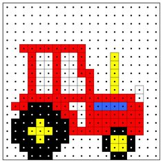 KleuterDigitaal - wb kralenplank tractor 01 Tiny Cross Stitch, Cross Stitch Borders, Cross Stitching, Cross Stitch Patterns, Quilt Patterns, Knitting Charts, Baby Knitting, Knitting Patterns, Melty Bead Patterns