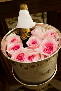 Fresh Roses in Champagne Bucket
