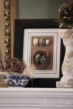 nest and eggs on burlap art