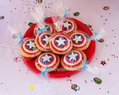 Shield cookies at an Avengers birthday party! See more party planning ideas at CatchMyParty.com!