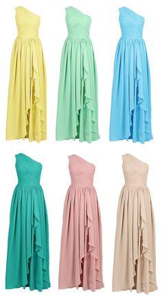 Pastel Color A-line One Shoulder Chiffon Long Bridesmaid Dress #prom #evening #event #bridesmaid #dress
