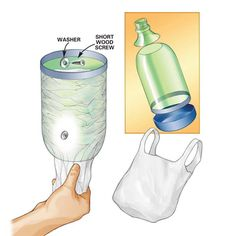 DIY Tip of the Day: Plastic bag dispenser. Plastic grocery bags turn up everywhere these days, so you might as well corral them for reuse. Simply cut the top and bottom off a two-liter bottle with a utility knife. Make the hole in the top about 3 in. in diameter. Mount the bottle on the back of a cabinet or closet door with the 3-in. opening down. Stuff the bags into the bottle and pull them out as needed.