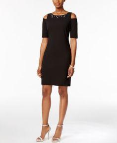21e3325f Jessica Howard Petite Embellished Cold-Shoulder Dress & Reviews - Dresses -  Petites - Macy's