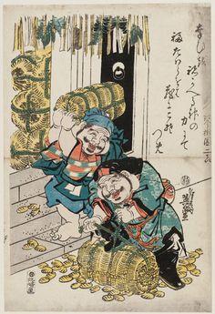 Keisai Eisen: Daikoku and Ebisu with Bales of Money - Museum of Fine Arts Japanese Mythology, Japanese Folklore, Japanese Artwork, Japanese Prints, Japanese Mask Tattoo, Japan Painting, Traditional Japanese Tattoos, Museum Of Fine Arts, Chinese Art