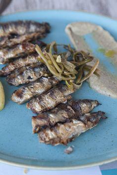 Grilled Sardines on the Island of Milos, Cyclades, Greece Grilled Sardines, Island Life, Green Beans, Greece, Grilling, Pork, Meat, Vegetables, Pork Roulade