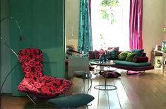 Mismatched curtains. Color. Love it!!!  Tricia Guild.
