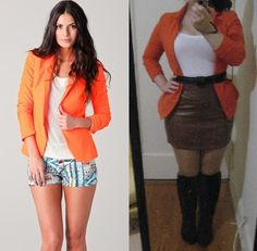 Orange blazer and white tee - outfits restyled from Pinterest for the Petite Hourglass on a budget!  idpinit.wordpress.com