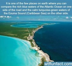 Just loving these photos of Eleuthera, an island in the Bahamas that's long, thin, and beautifully divides the Atlantic Ocean and the Caribbean Sea. Oh The Places You'll Go, Cool Places To Visit, Places To Travel, Dream Vacations, Vacation Spots, Les Bahamas, Wtf Fun Facts, Crazy Facts, Random Facts