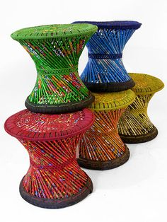 Clever Woven baskets from the NGO Heed Nepal made from recycled sweet wrappers