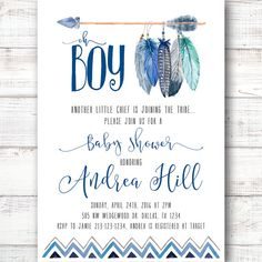 Tee Pee Aztec Tribal Southwest Baby Shower Invitation by 21Willow
