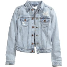 H&M Denim jacket ($26) ❤ liked on Polyvore featuring outerwear, jackets, tops, coats, light denim blue, blue denim jacket, h&m, blue jean jacket, blue jackets and jean jacket
