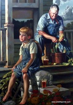 In Bob Byerley's print THE GREATEST STORYTELLER grandpa shares tall tales with his grandson as they drink iced tea and shuck corn for dinner. Bob Byerley says: Noodlin! We called it noodlin boy, and w