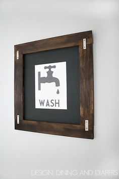 40 Fabulously Free Bathroom & Laundry Room Printables - Dwelling In Happiness // I ♥ this simple wooden frame? //