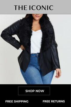 Faux Fur Collar Waterfall Jacket Faux Fur Collar, Fur Collars, Waterfall Jacket, Full Figured, Fashion Forward, Fur Coat, Winter Jackets, Long Sleeve, Clothes