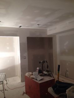 Drywall up . Bead and tape Textured Ceiling, Ceiling Texture, Drywall, Bathroom Lighting, Tape, Bead, Mirror, Furniture, Home Decor