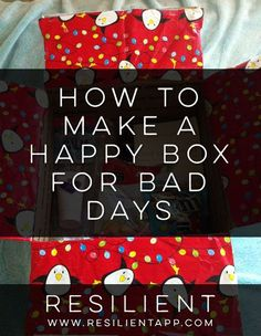 "Sometimes when we have a bad day it would be nice if we could just pull out a box of all our favorite things that make us happy so we can smile again. :) I got the idea to create a ""happy box"" one summer before I moved out to my own place so I would be prepared for living on my own in case the inevitable bad day ever struck."